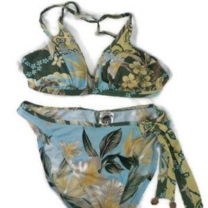 Lucky Brand Tropical Floral String Bikini